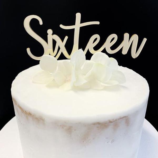 Acrylic Cake Topper 'SIXTEEN' (Fancy) - GOLD