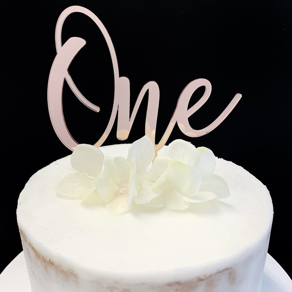 Acrylic Cake Topper 'ONE' (Age Script) - ROSE GOLD
