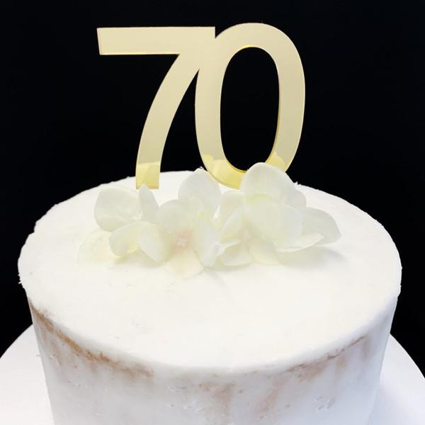 "Cake Topper ""70"" - 7cm - GOLD"