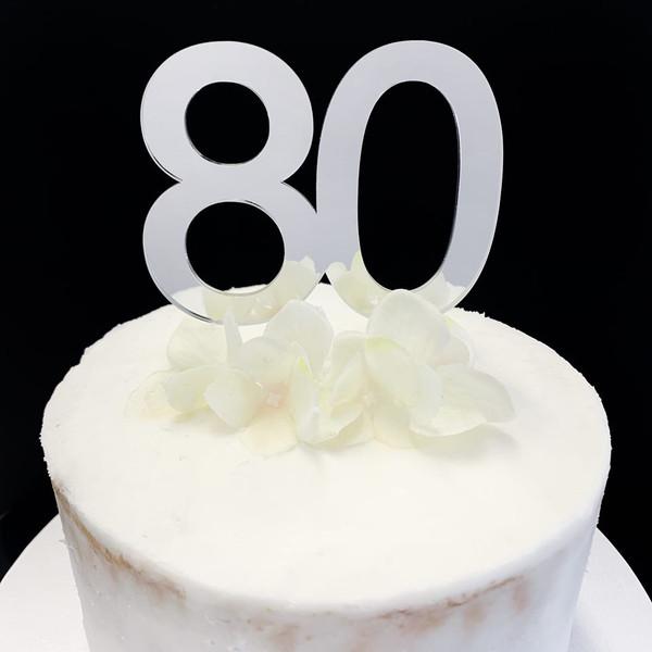 Cake Topper '80'  8.5cm - SILVER