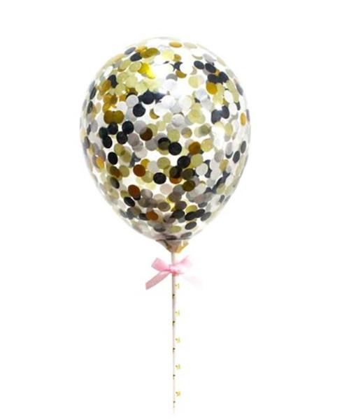 Confetti Balloon Topper - Black