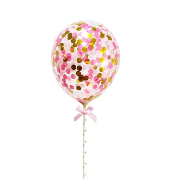 Confetti Balloon Topper - Pink