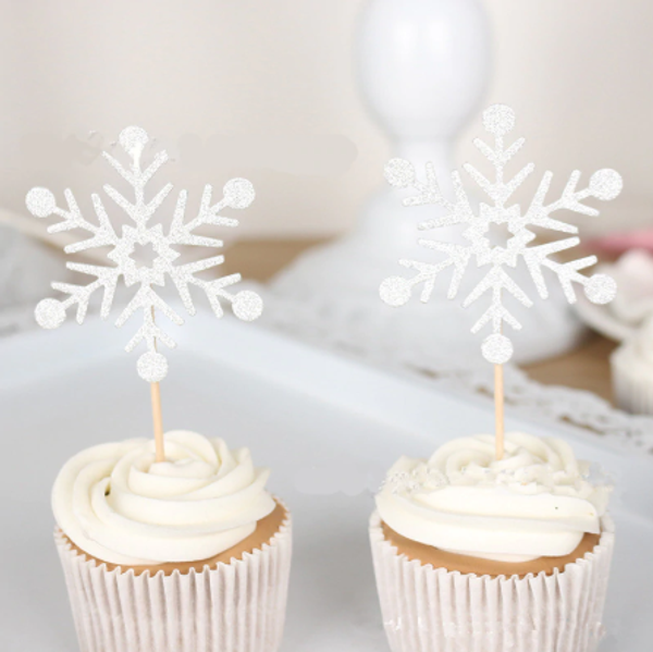 Cupcake Toppers Snowflake 10pc - SILVER GLITTER