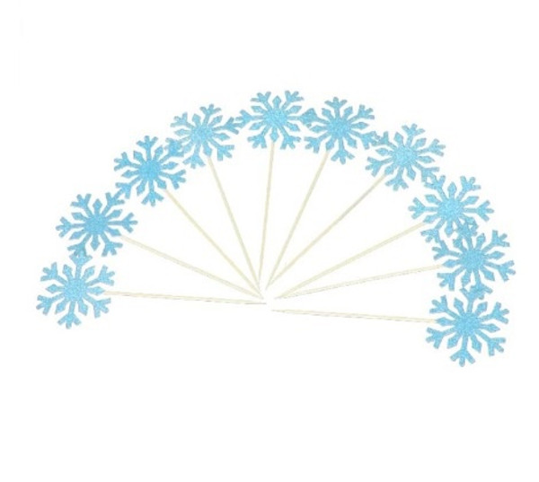 Cupcake Toppers Snowflake 10pc - BLUE GLITTER