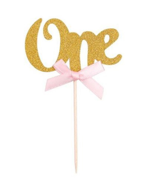 """Cupcake Toppers 6pc - Gold """" ONE """""""
