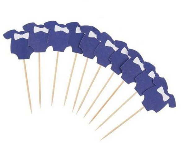 Cupcake Toppers 10pc - Baby Romper Blue