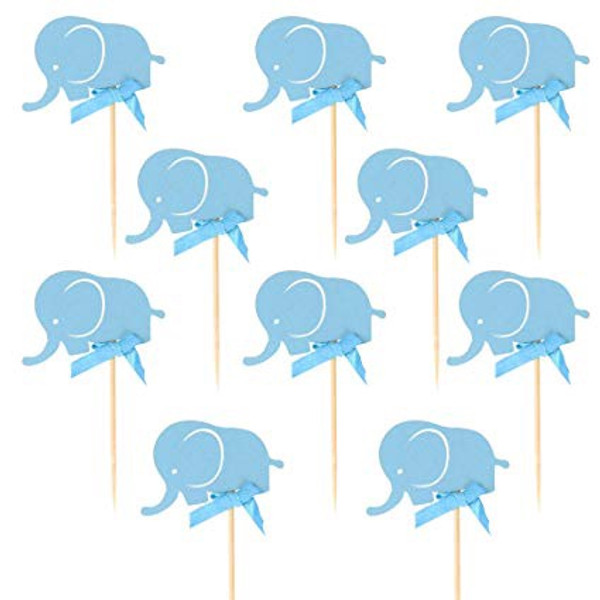 Cupcake Toppers 10pc - Blue Elephant