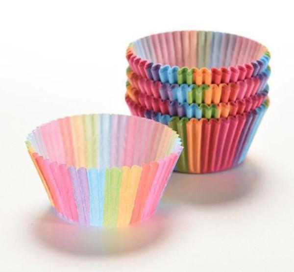 Cupcake Cases 100pc - Rainbow Strips