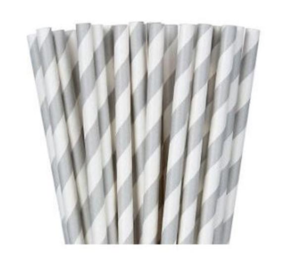 Paper Straws 20pk - Silver and White Striped