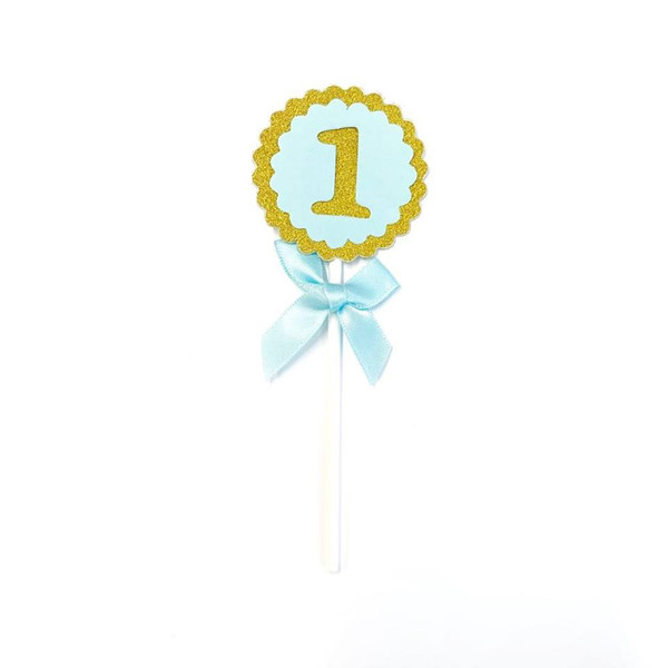 Cupcake Toppers 5pc - Gold & Blue 1