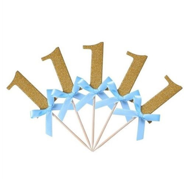 """Cupcake Toppers 10pc - Gold """"1"""" & bows"""