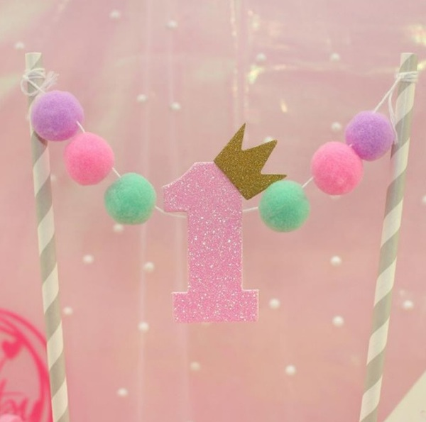 """Cake Topper - Bunting  Pink """" 1 """""""