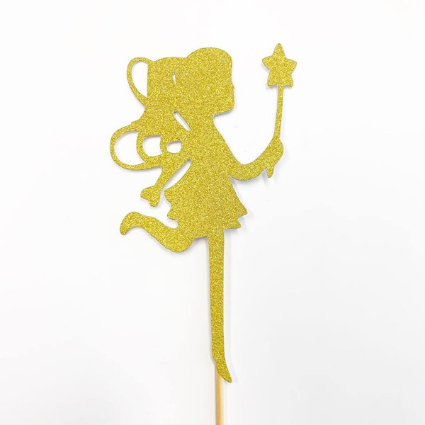 Cupcake Toppers 6pc- Gold Fairy