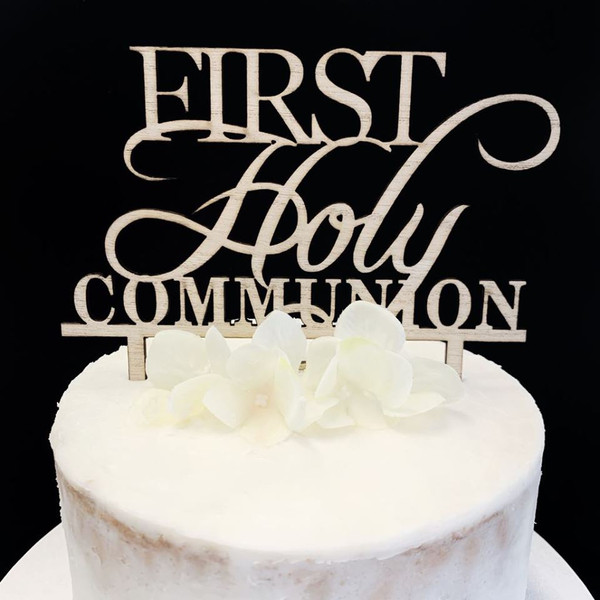 Cake Topper 'First Holy Communion' - TIMBER