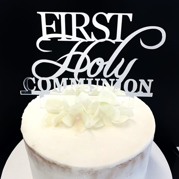 Acrylic Cake Topper 'First Holy Communion' - SILVER