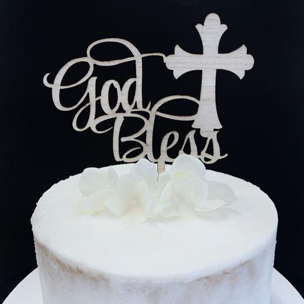 Cake Topper 'God Bless' - Bamboo