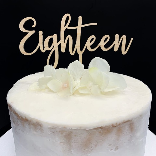 Cake Topper 'Eighteen' - BAMBOO