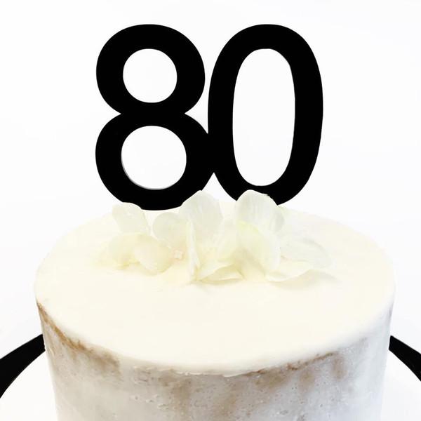 Cake Topper '80' 8.5cm - BLACK