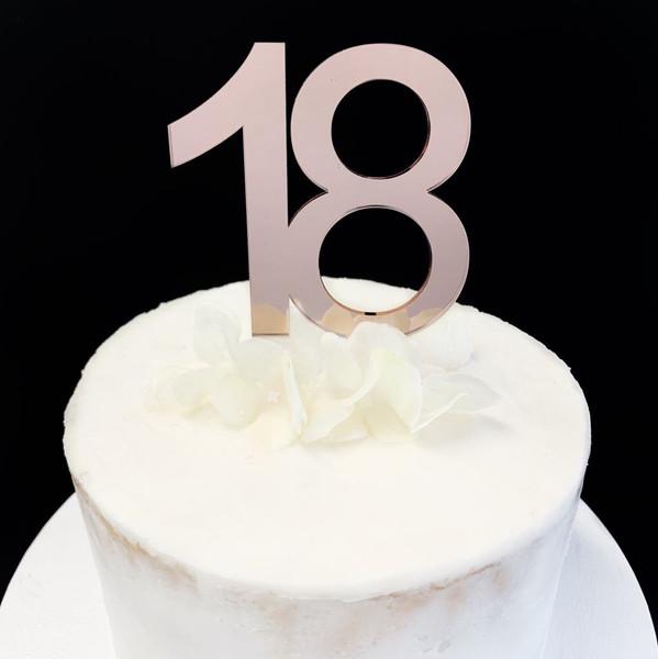 Acrylic Cake Topper '18' 8.5cm - ROSE GOLD