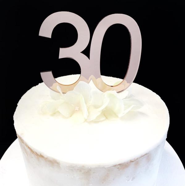 Cake Topper '30' 8.5cm - ROSE GOLD