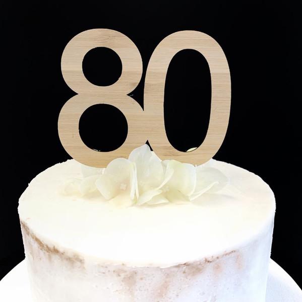 Cake Topper '80' 8.5cm - BAMBOO