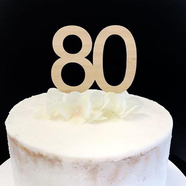 Cake Topper '80' 7cm - BAMBOO