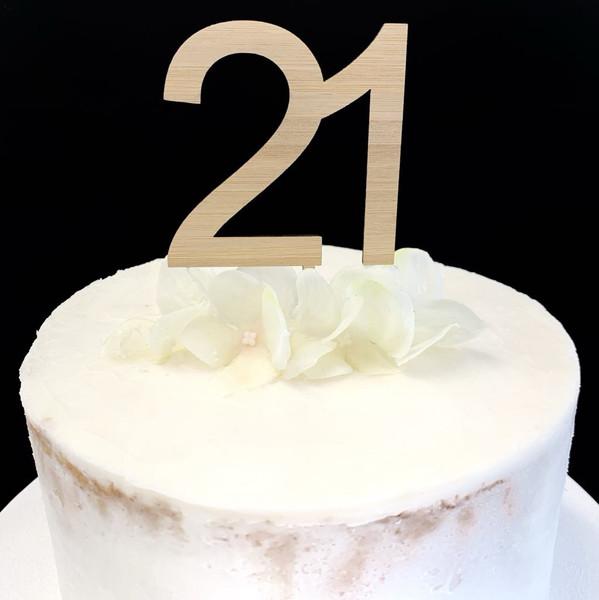 Cake Topper '21' 7cm - BAMBOO