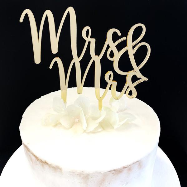 Acrylic Cake Topper 'Mrs & Mrs' - GOLD