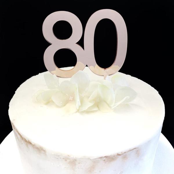 Acrylic Cake Topper '80' 7cm - ROSE GOLD