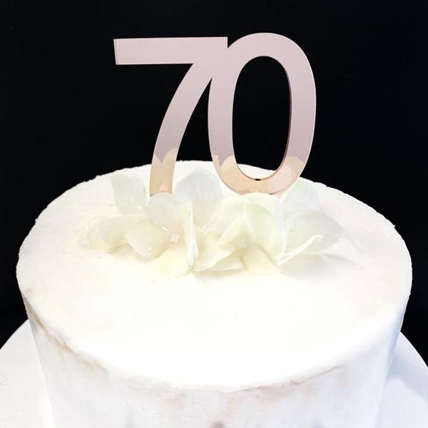 Acrylic Cake Topper '70' 7cm - ROSE GOLD