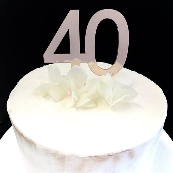Acrylic Cake Topper '40' 7cm - ROSE GOLD