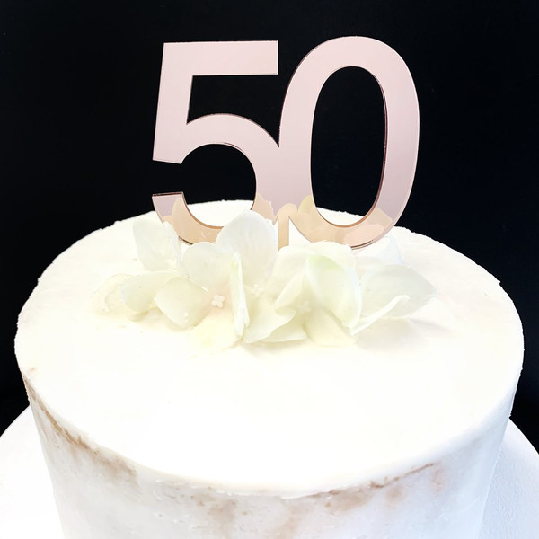 Acrylic Cake Topper '50' 7cm - ROSE GOLD