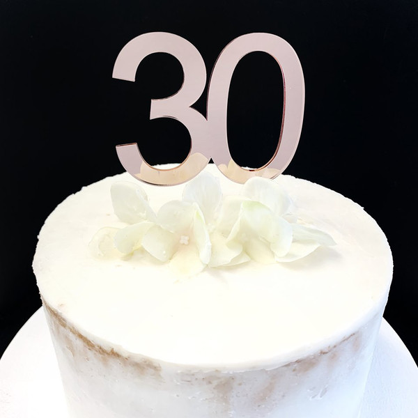 Acrylic Cake Topper '30' 7cm - ROSE GOLD