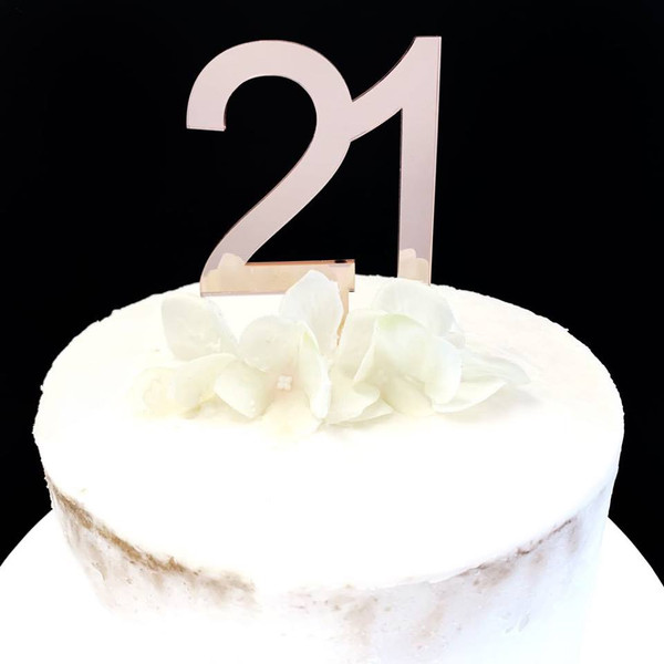 Acrylic Cake Topper '21' 7cm - ROSE GOLD