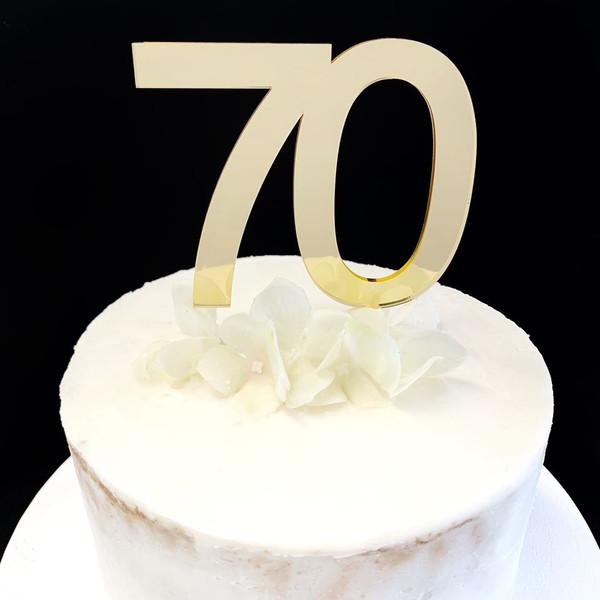 Acrylic Cake Topper '70' 8.5cm - GOLD