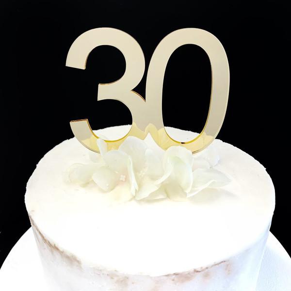 Acrylic Cake Topper '30' 8.5cm - GOLD