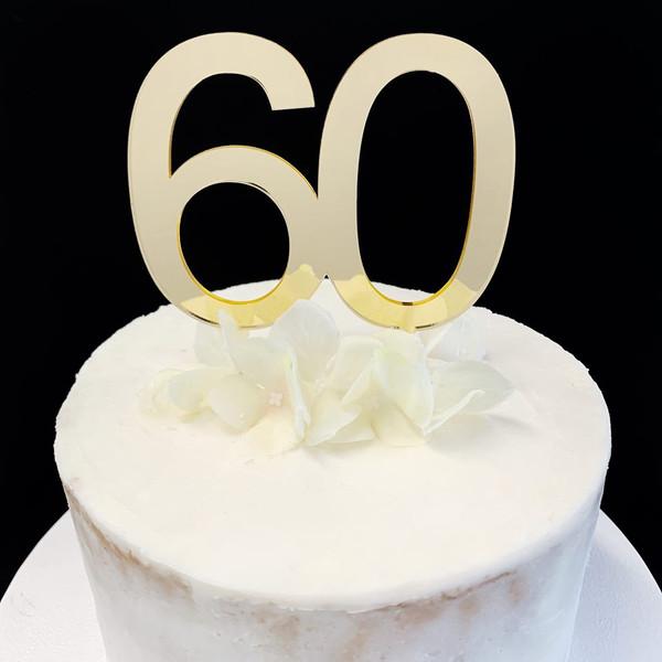 Acrylic Cake Topper '60' 8.5cm - GOLD