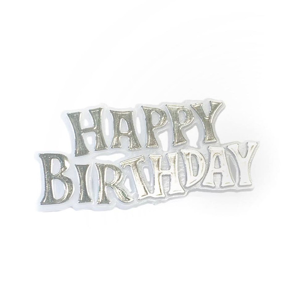 Cake Topper Plaque 'Happy Birthday' - SILVER