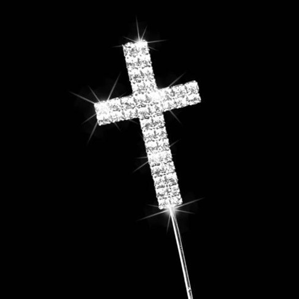 Cake Topper - Diamante Silver Cross
