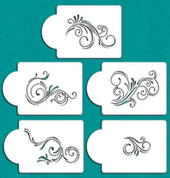 Cake Stencil - Assorted Swirls and Dots 5pc