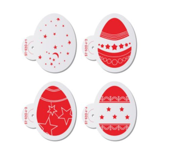 Cake Stencil - Star Easter Eggs 4pc