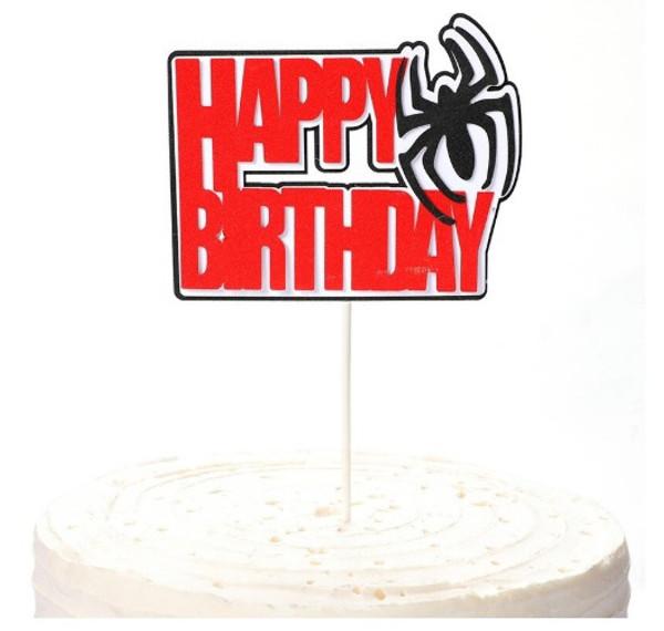 Cake Topper - Spider Man 'Happy Birthday'