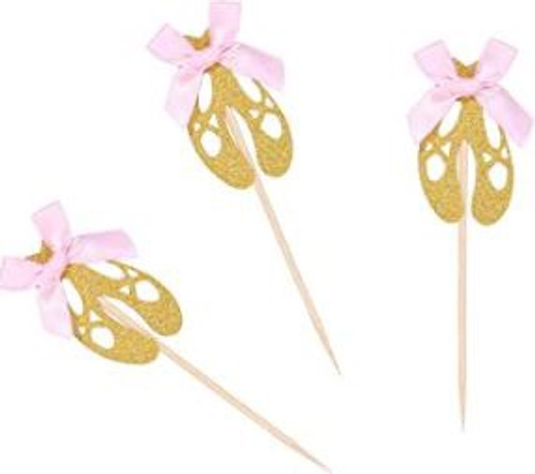 Cupcake Toppers 10pc - Ballerina Slippers Gold Glitter