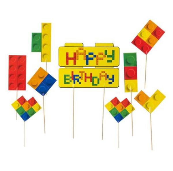 Cake Topper Lego Set - 9 Pc