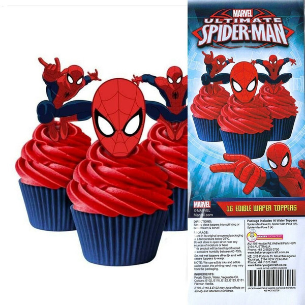 Edible Wafer Toppers - SPIDERMAN 16PC