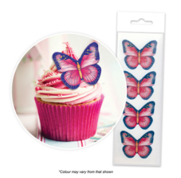 Edible Wafer Toppers  - BUTTERFLIES RED & NAVY