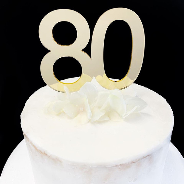 Acrylic Cake Topper '80' 8.5cm - GOLD