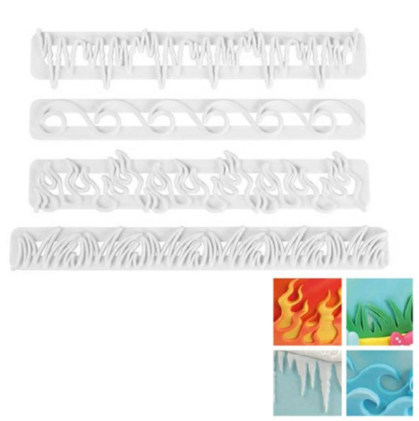 Impression Cutters - SET WAVES, FIRE, ICE, GRASS 4PC