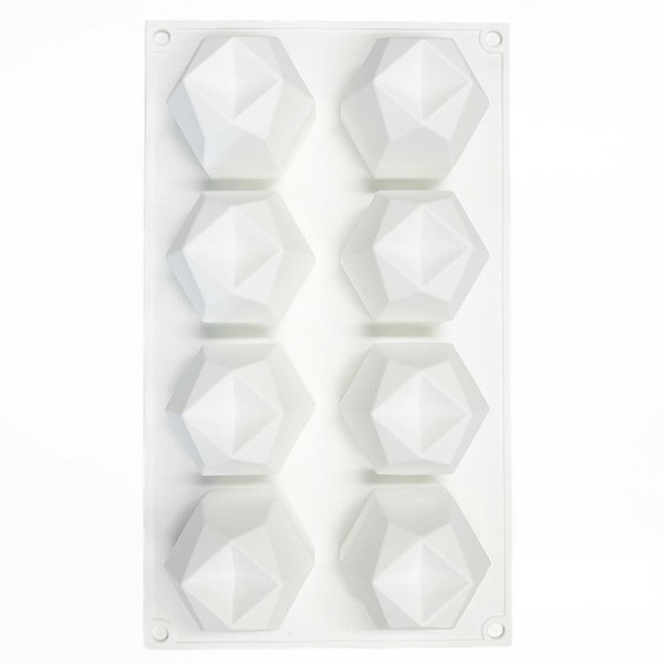 Silicone Mold - POLYGONAL DOMES 8 Cavity