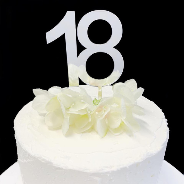Acrylic Cake Topper '18' 8.5cm - SILVER
